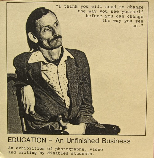 A photograph from the exhibition, Education - An Unfinished Business (1984)